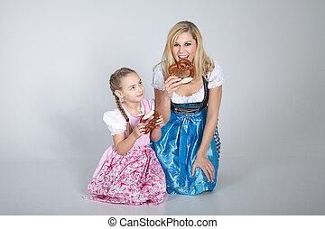 Oktoberfest, madre, bambino
