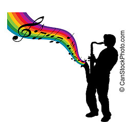 rainbow sax - A sax player creates a rainbow of music