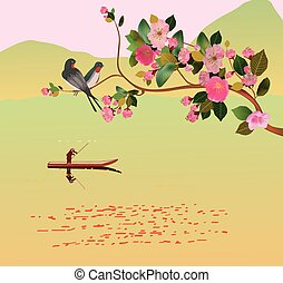 Sakura ,bird , spring , postcard - Spring All wakes up,...