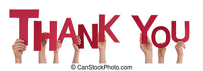 People Holding Thank You - Many People Holding the Red Word...