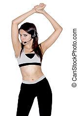 Female fitness trainer streching - Female fitness...