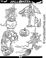Halloween Cartoon Themes for Coloring Book - Cartoon...
