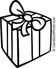 christmas gift coloring page - Black and White Cartoon...