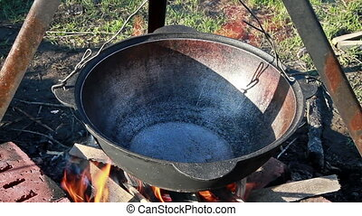 Cooking pilaf Pour oil - The process of preparation of...