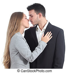 pareja, businesspeople, amor, listo, beso