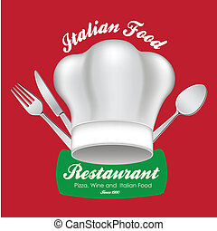 italian food  over red background vector illustration
