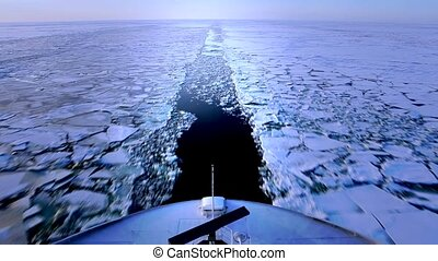Cold water - Ship heading through a frozen Baltic sea....