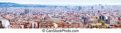 Panoramic view of residence district in Barcelona -...