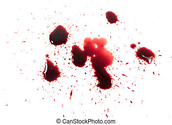 Bloody red blots isolated on white background