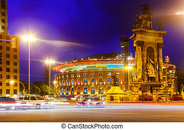evening view of Plaza de Espana Barcelona