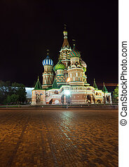 Intercession Cathedral at Moscow in night - Intercession...