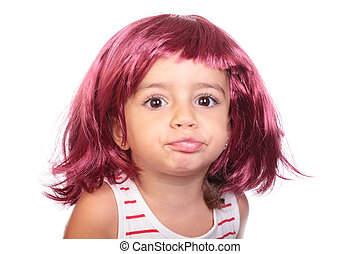 beautiful girl with a wig