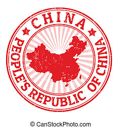 China stamp - Grunge rubber stamp with the name and map of...