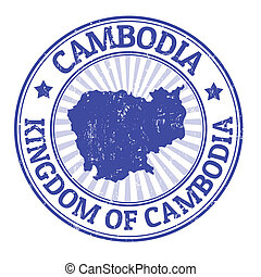 Cambodia stamp - Grunge rubber stamp with the name and map...