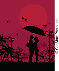 Embraced lovers in a park on red sunset, vector illustration