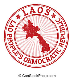 Laos stamp - Grunge rubber stamp with the name and map of...