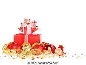 Christmas gifts and balls with gold ribbon isolated on a...