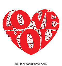 Love Background - Love card with a big heart over white...
