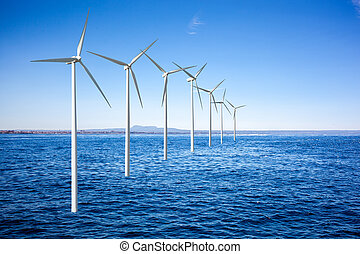 viento, generadores, turbinas, mar