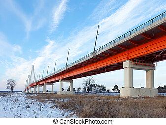 cable bridge through Oka River. Russia