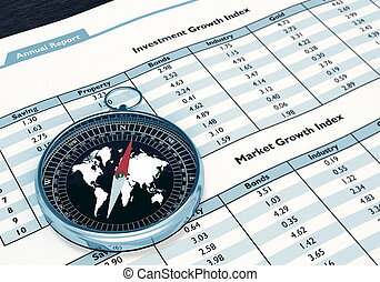 Compass and Financial report - A conceptual image for...