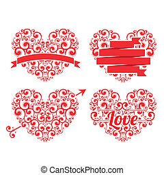 Love Background - Love card with a different heart over...