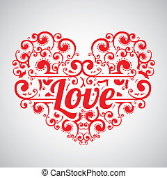 Love Background - Love card with a big heart over gray...
