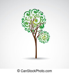 slim tree over gray background vector illustration