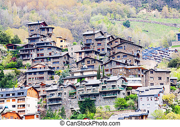 City at Pyrenees mountains. Andorra la Vella - City at...