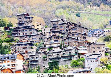 City at Pyrenees mountains. Andorra la Vella - City at...