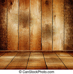 Empty old wooden room with parquet floor