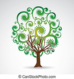 leafy tree over white background vector illustration