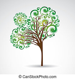 Beauty tree over gray background vector illustration