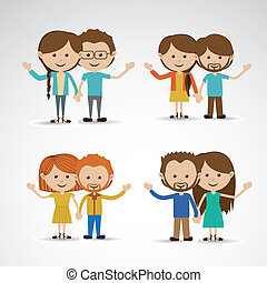 happy couples over gray background vector illustration