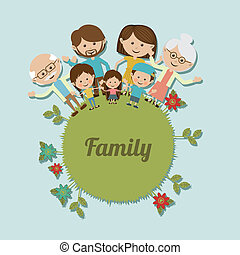 family design over blue background vector illustration