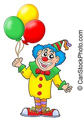 Clown with balloons - Clown with colorful balloons - color...