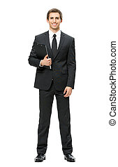 Full-length portrait of business man with folder -...