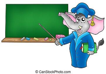Cartoon elephant teacher with blackboard