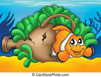 Clownfish in green anemone - color illustration.