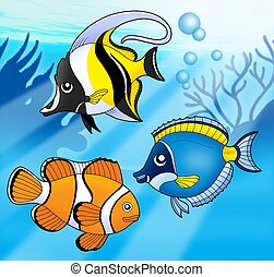 Coral fish collection in blue sea - color illustration.