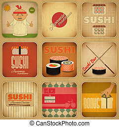 Sushi set - Set of Retro Sushi Labels in Vintage Style in...