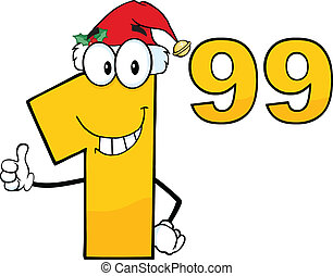 Price Tag Number 1 99 With Santa Hat Cartoon Mascot...