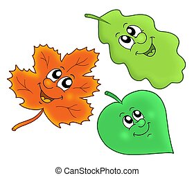 Cute autumn leaves - color illustration.