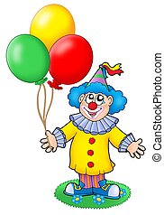 Cute clown with balloons - color illustration.