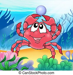 Cute crab with pearl - color illustration.