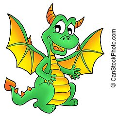 Cute green dragon - color illustration.