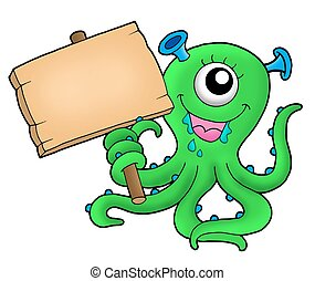 Cute monster with wooden sign