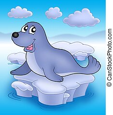 Cute seal on iceberg - color illustration.