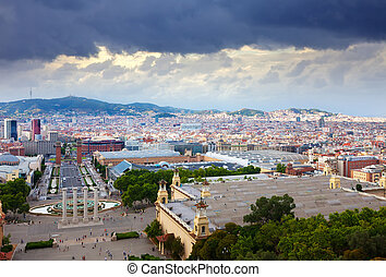 Barcelona cityscape from National Palace of Montjuic