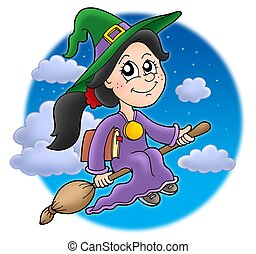 Cute witch on broom - color illustration